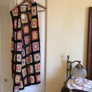 Crochet long sweater vest new with tags